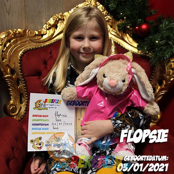 Berefijn knuffeldier Flopsie – teddybeer - Teddy Mountain - Lier - konijn - kleding - regenjas - sneaker