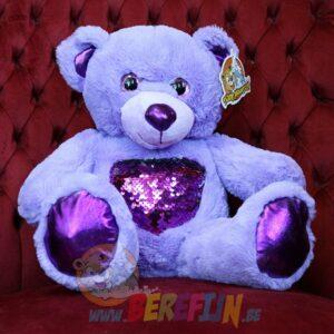 Berefijn knuffeldier Glitz – build a bear - teddybeer - Teddy Mountain - Lier- hart - glitter - pailletten