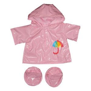 Berefijn - Teddy Mountain - build a bear - Lier - jas - laarzen - kleding - pink - paraplu