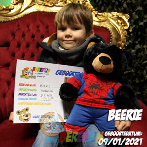 Berefijn knuffeldier Benjamin – build a bear - teddybeer - Teddy Mountain - Lier - beer - zwarte beer - black bear - spiderman