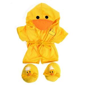 Berefijn - Teddy Mountain - Lier - badjas - eend - duck - pantoffels - kamerjas - build a bear - bad - douche - wassen