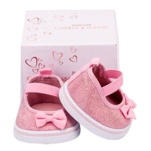 Berefijn - Teddy Mountain - Lier - schoenen - ballerina - glitter - roze - build a bear - cuddles & friends - strikje