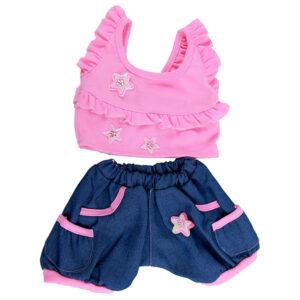 Berefijn - Teddy Mountain - Lier - kleding - cuddles & friends - build a bear - topje - short - zomer - sterren - jeans