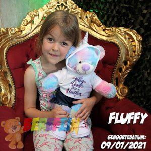 Berefijn knuffeldier Rainbow - Lier - build a bear workshop - Cuddles - Meisje Djamila - DIY - BAB - eenhoorn - unicorn