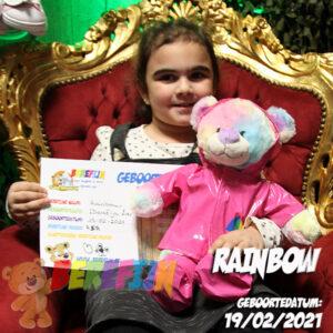 Berefijn knuffeldier Rainbow - Teddy Mountain - Lier - build a bear - Cuddles - regenboog beer - regenjas - laarzen