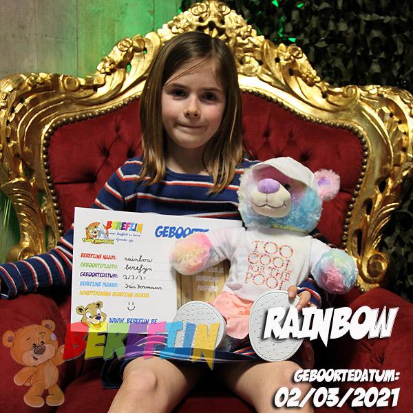 Berefijn knuffeldier Rainbow - Teddy Mountain - Lier - build a bear workshop - Cuddles - fluffy - eenhoorn - rokje - pet - shirt