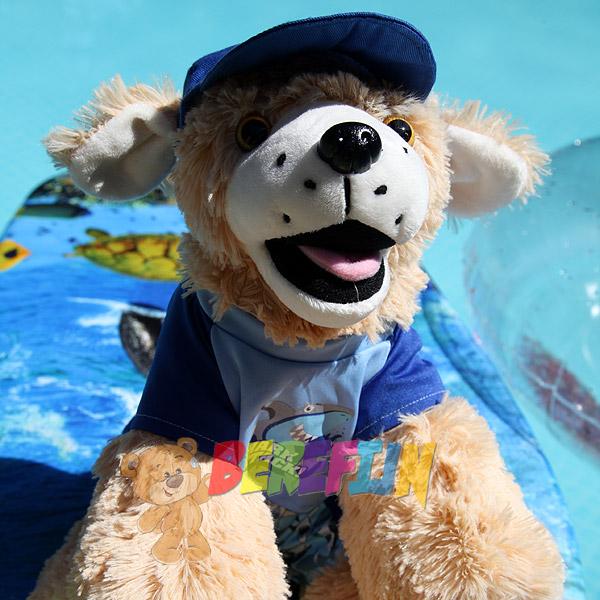 Berefijn knuffeldier Goldie – teddybeer - Teddy Mountain - Lier - hond - Golden Retriever - build a bear - zwembad - haai